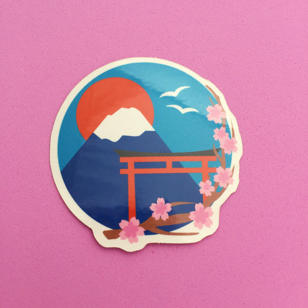 Japan Mount Fuji Cherry Blossom Vinyl Sticker - Hand Over Your Fairy Cakes - hoyfc.com