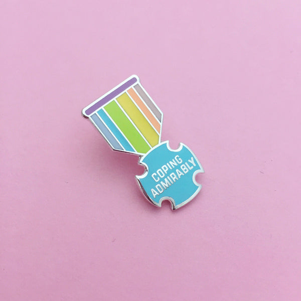 Coping Admirably Medal Enamel Pin - Hand Over Your Fairy Cakes - hoyfc.com