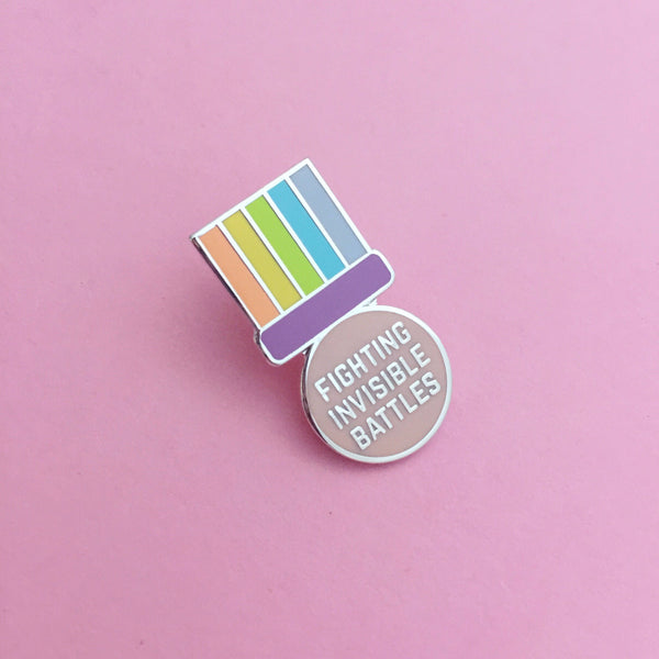Fighting Invisible Battles Medal Enamel Pin - Hand Over Your Fairy Cakes - hoyfc.com