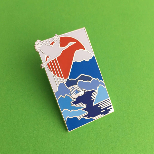 Japanese Crane Waterfall - Enamel Pin - Hand Over Your Fairy Cakes - hoyfc.com