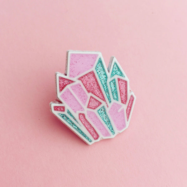 Glitter Crystal Enamel Pin - Hand Over Your Fairy Cakes - hoyfc.com
