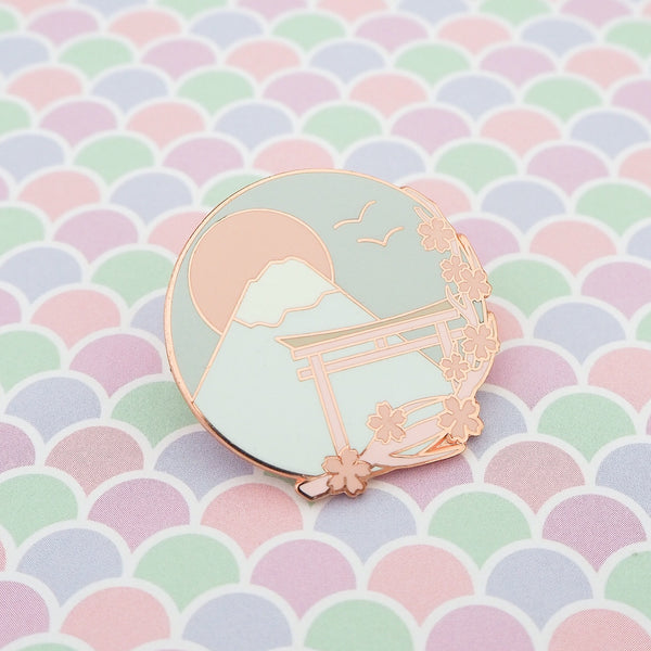Pastel Japan Mount Fuji Cherry Blossom - Enamel Pin - Hand Over Your Fairy Cakes - hoyfc.com