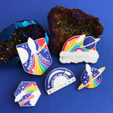 Rocket Planet Rainbow Rocket Enamel Pin - Hand Over Your Fairy Cakes - hoyfc.com