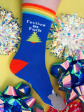 Festive As Fuck Kitty Christmas Rainbow Socks - Hand Over Your Fairy Cakes - hoyfc.com