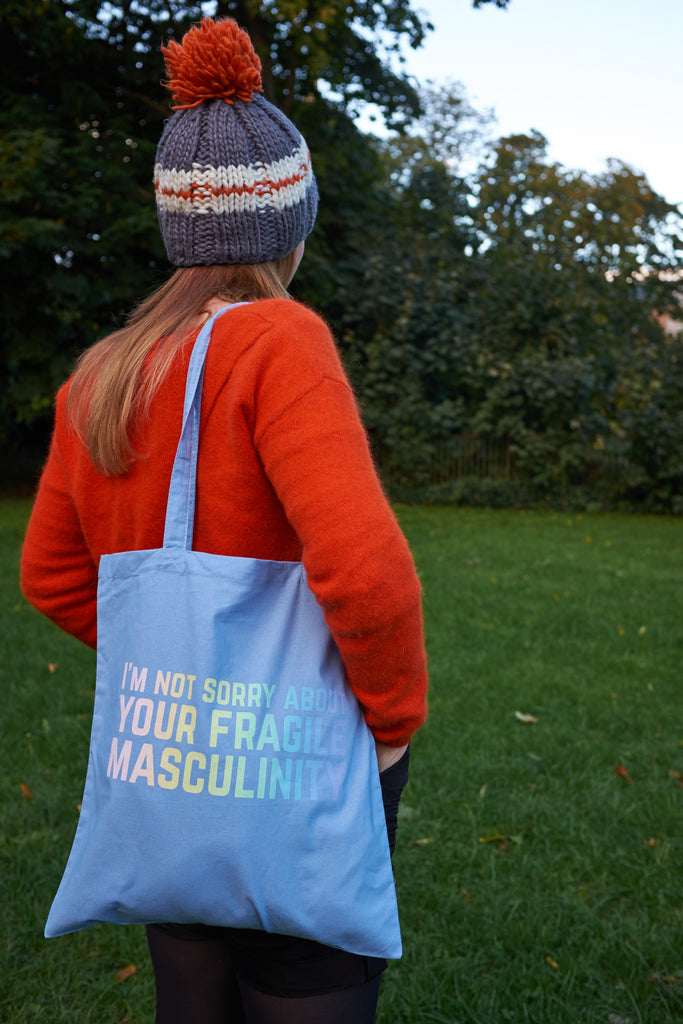 I'm Not Sorry About Your Fragile Masculinity Pastel Rainbow Screen Printed Tote Bag - Hand Over Your Fairy Cakes - hoyfc.com
