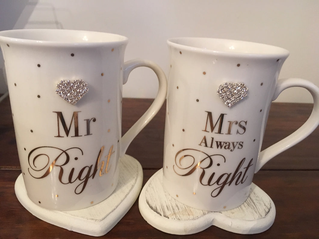 Mr Right & Mrs Always Right Jewelled Heart Boxed Mug Set