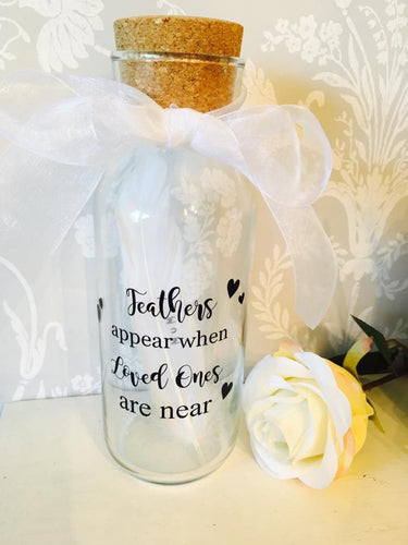 Personalised Remembrance Feather in a Bottle