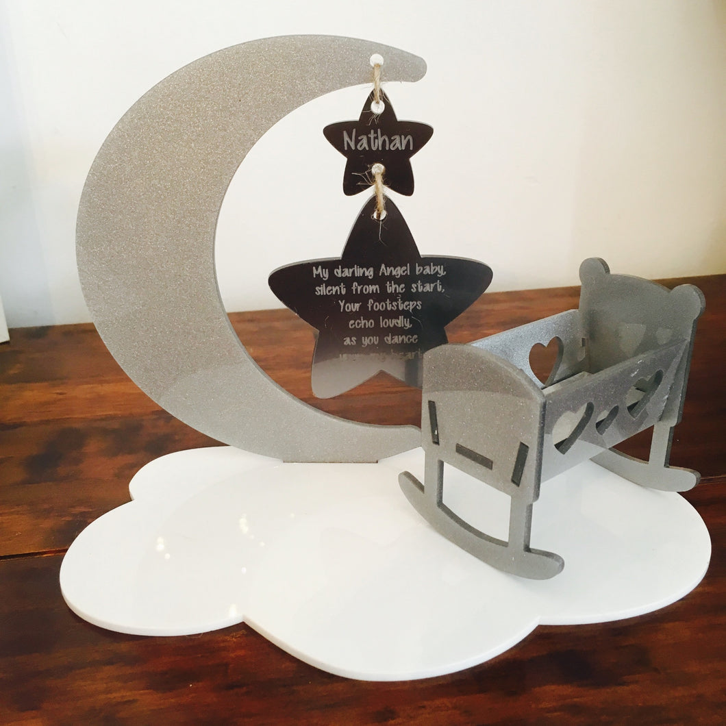'Silent from the Start' Moon, Stars and Cloud Plaque with Crib