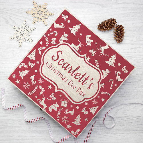 Personalised Christmas Eve Box With Festive Pattern: Small or Large Size