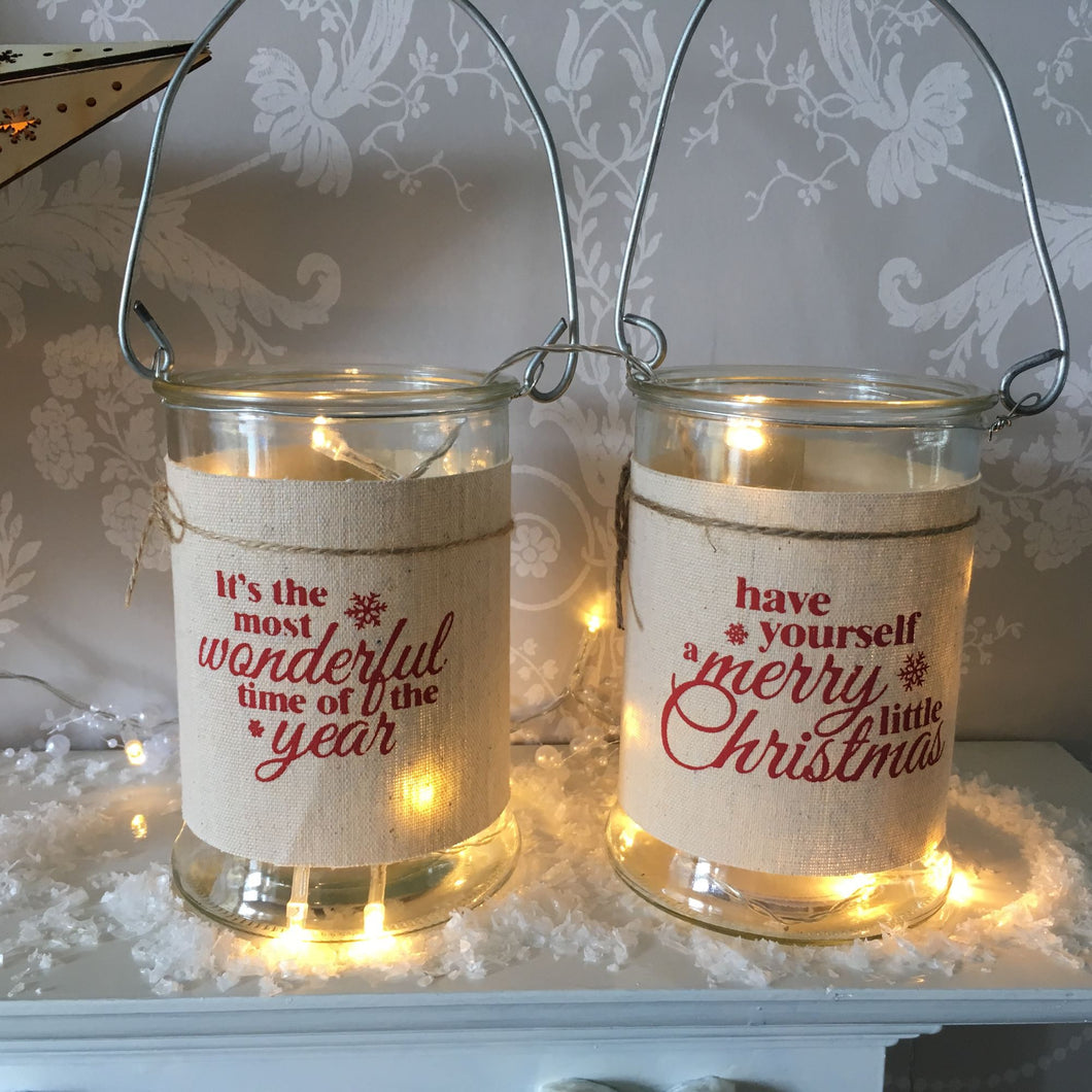 Set of Two Christmas Linen Lanterns