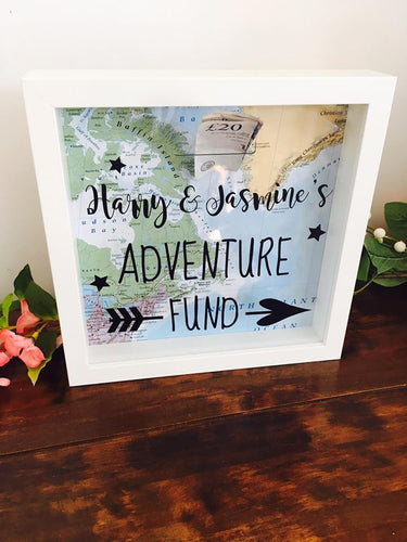 Money Box Fund Frame with Map Background.
