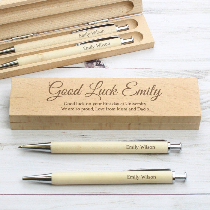 Personalised Wooden Pen & Pencil Box Set. Add your own message