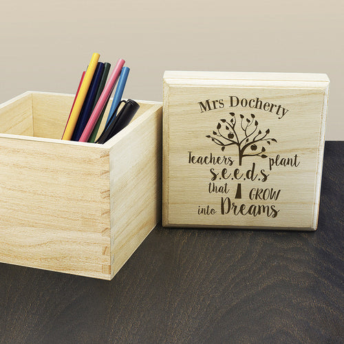 Personalised Teacher's Plant Seed Cube Box