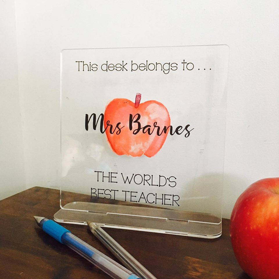 Personalised Teacher Desk Plaque