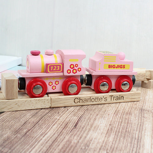 Personalised Wooden Train and Track Set- Pink