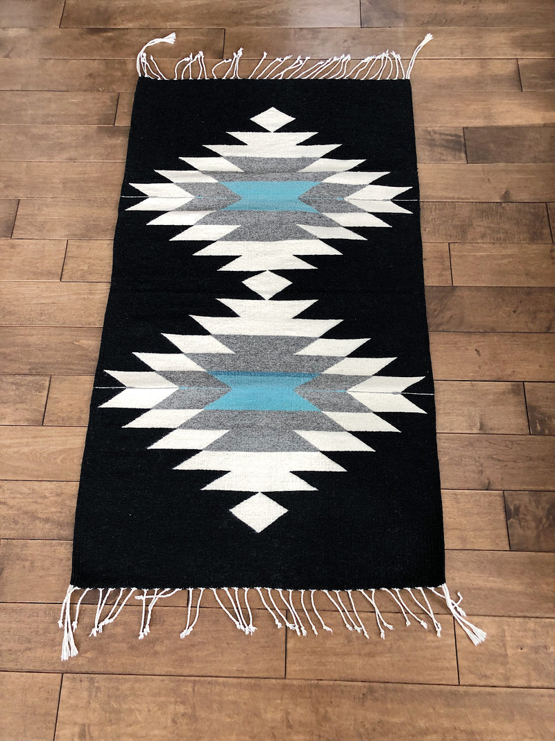 Mexican rug in black lambswool