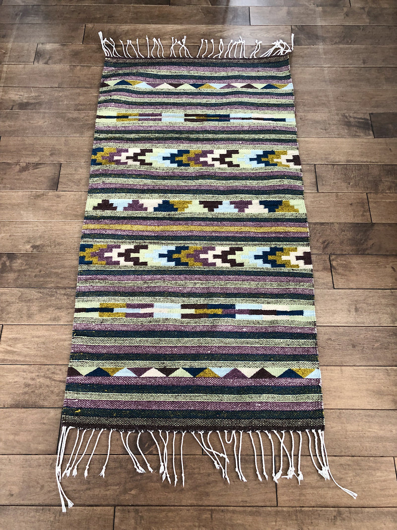 Mexican rug in lambswool la Forêt