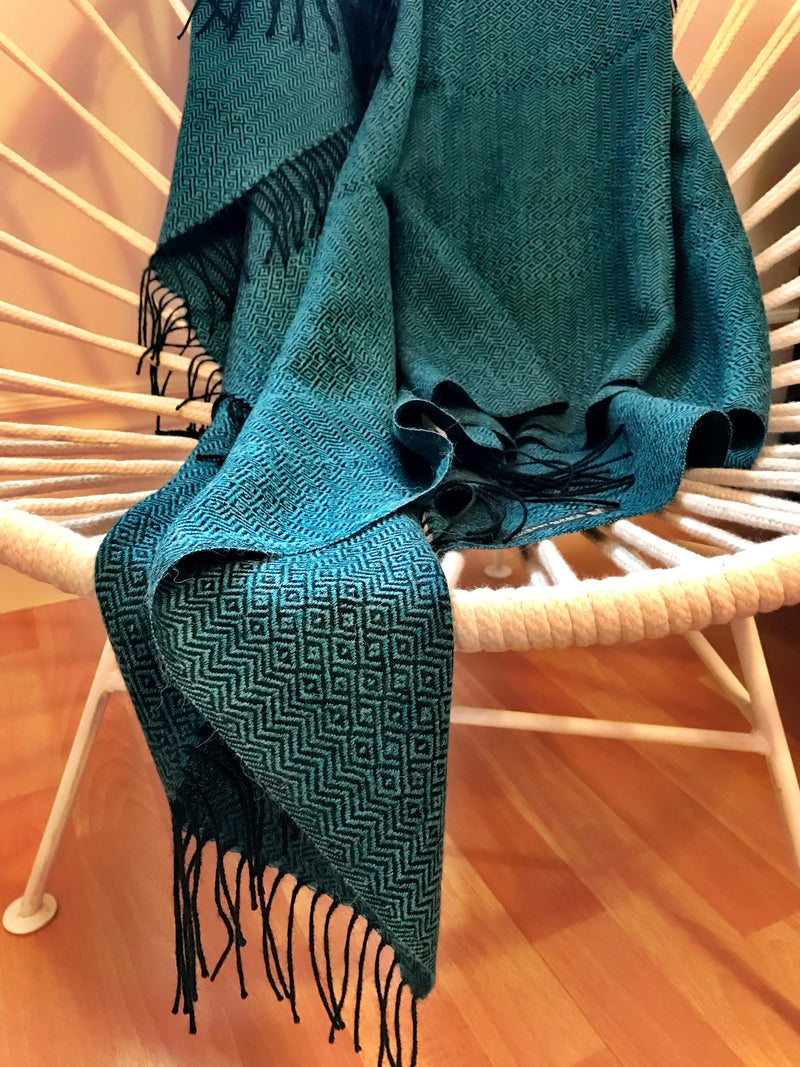 Turquoise baby alpaca throw