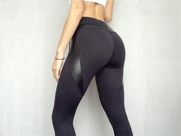 Leggings Leather Patchwork