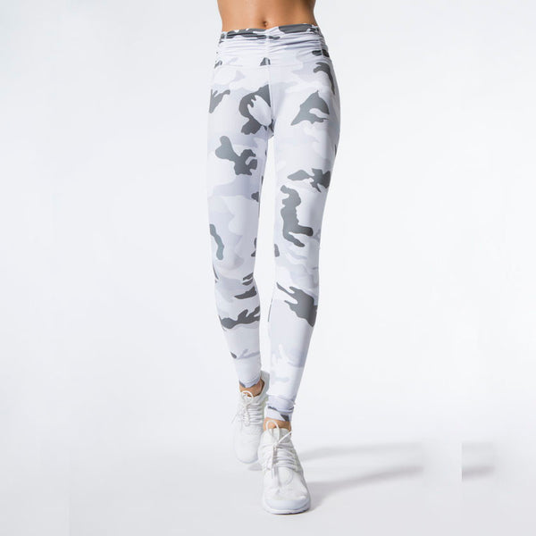 White Camouflage Printed Leggings