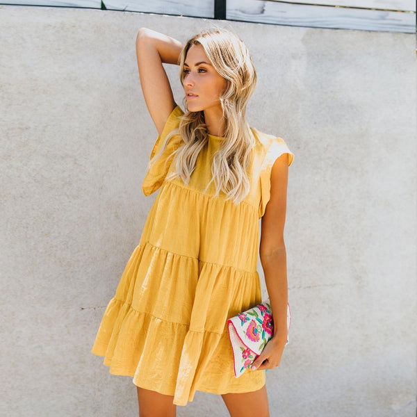 Mini Summer Boho Dress Butterfly Sleeve
