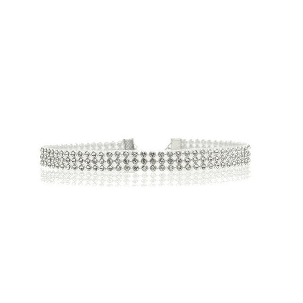 Crystal Silver Choker Necklace