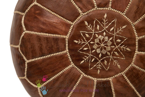 Moroccan Embroidered Leather Pouf in Chestnut