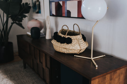 Round Wicker Collapsible Baskets w/ Black Pom Pom