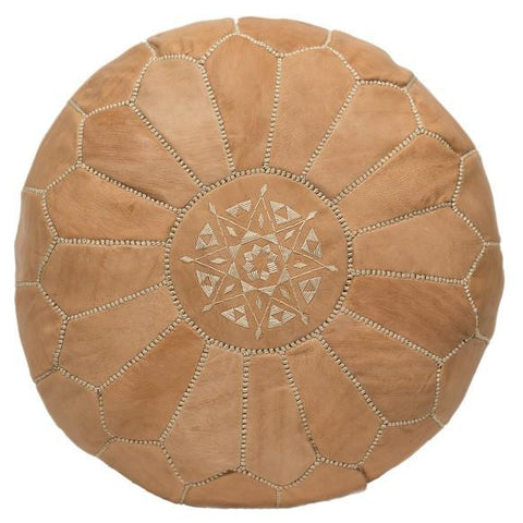 Moroccan Embroidered Leather Pouf in Natural