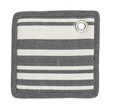 Cotton Potholder, Grey+White Striped with Leather Strap