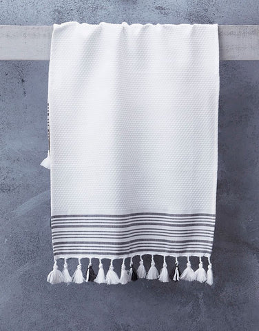 Truva White Hand Towel With Classic Grey Stripes
