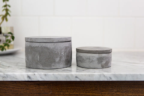 Cement Boxes with Lids, Set of 2
