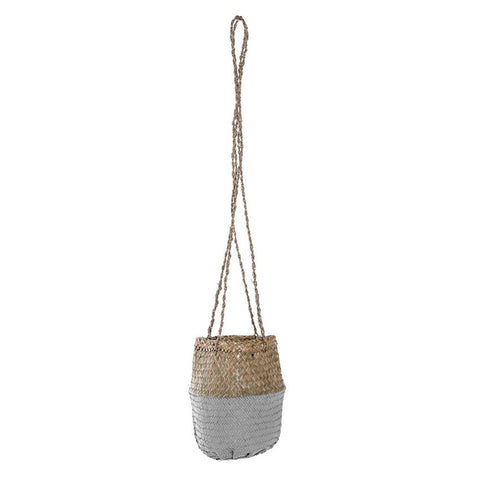 Natural + Light Grey Hanging Seagrass Basket
