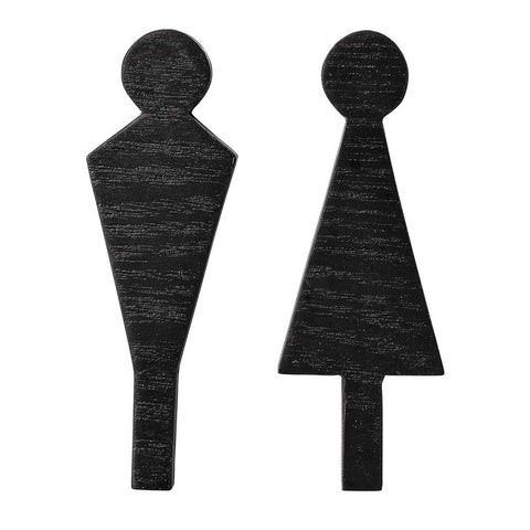 Black Wood Man/Woman Signs, Set of 2