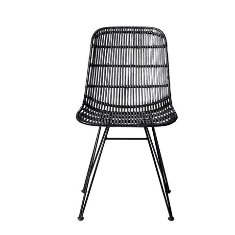 Black Braided Rattan Chair with Black Metal Frame