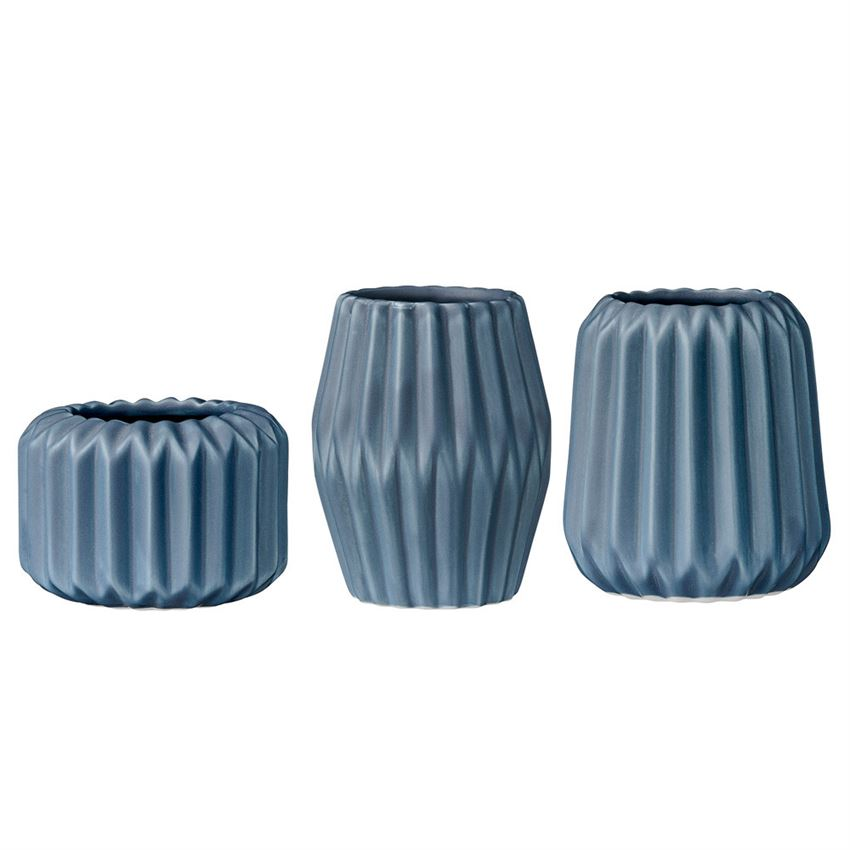Navy Fluted Porcelain Votive/Tealight Holder, 3 Styles