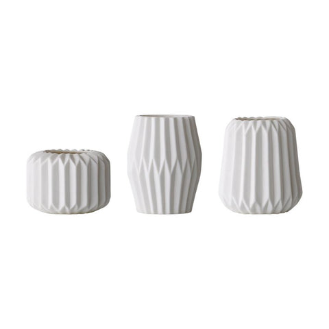 White Fluted Porcelain Votive/Tealight Holder, 3 Styles