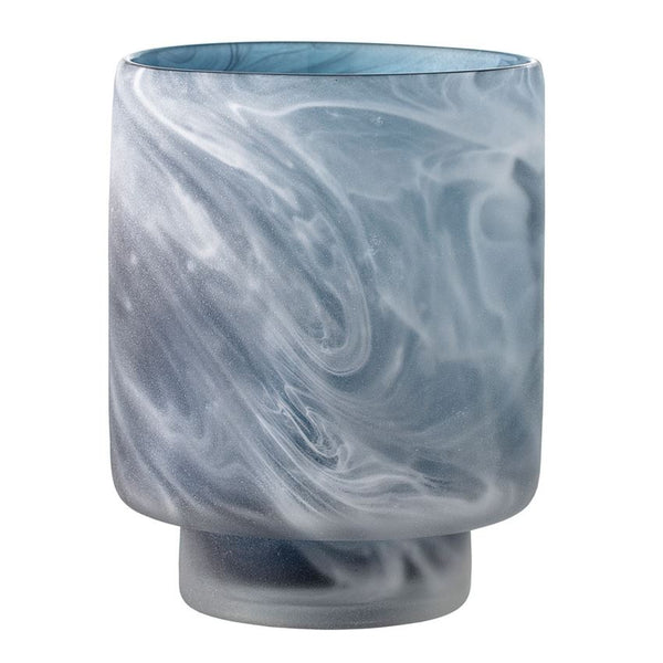 Glass Votive Holder, Marbled Grey