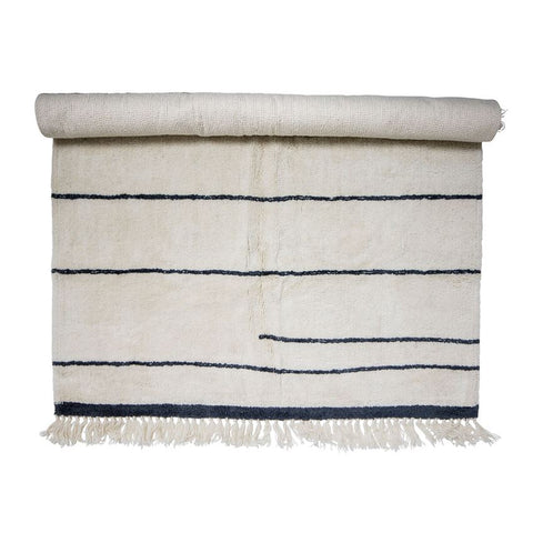 Wool Rug in White w/ Blue Stripes