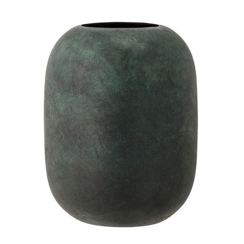 Metal Vase, Marbled Green Finish