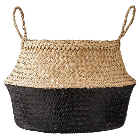 Natural & Black Seagrass Basket with Handles