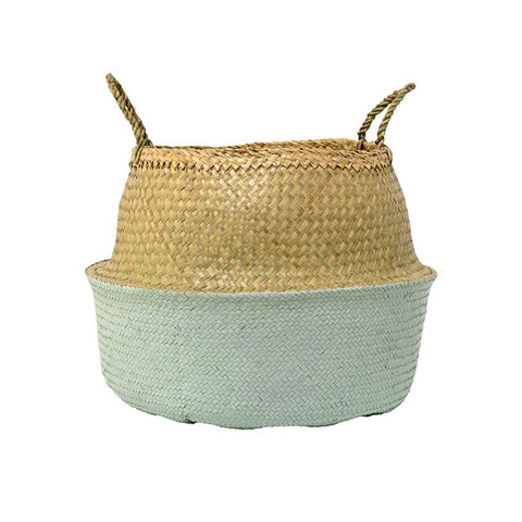 Natural & Mint Seagrass Basket with Handles