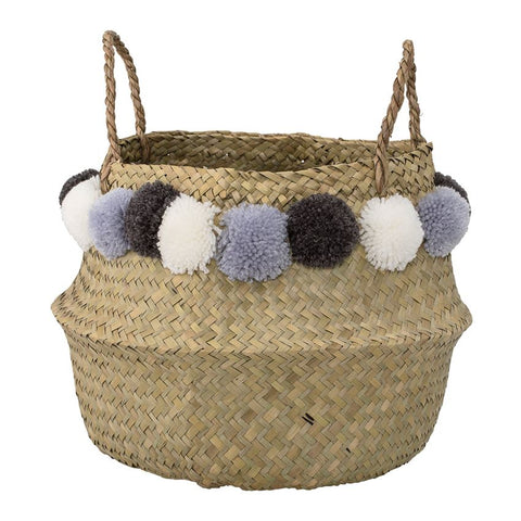 Seagrass Basket w/ Pom Poms, Natural