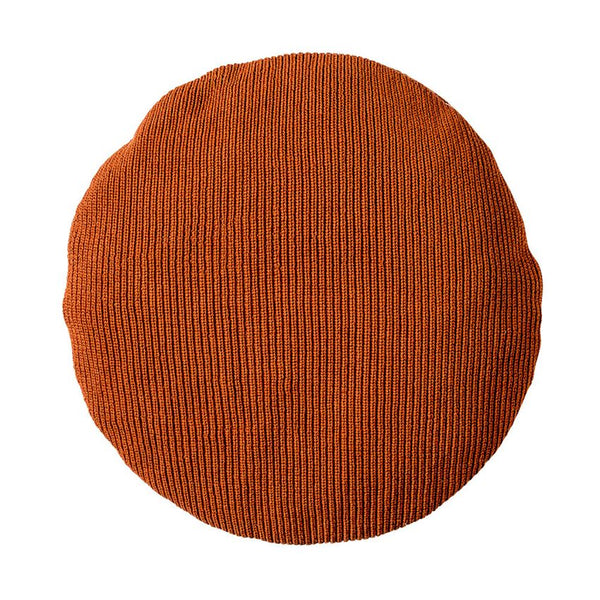 Burnt Orange Round Knitted Cotton Pillow
