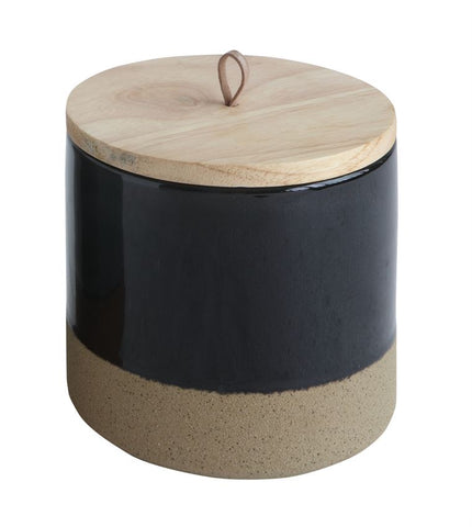 Black Stoneware Canister w/ Wood Lid