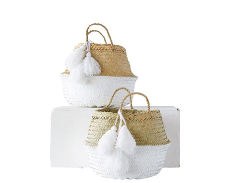 Seagrass Basket, White with Tassels