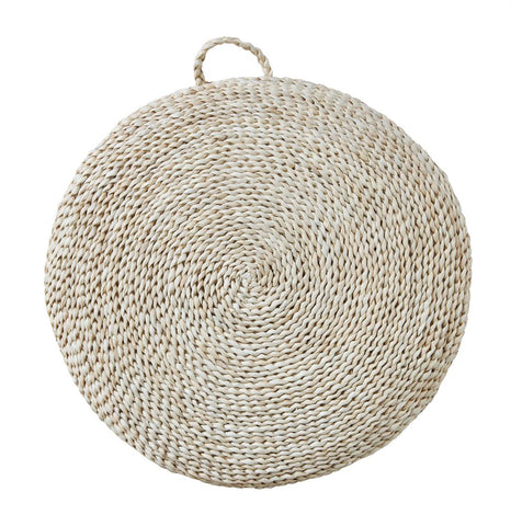 Woven Straw Floor Cushion w/ Handle