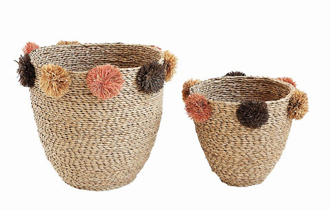 Natural Seagrass Baskets w/ Brown & Pink Pom Poms