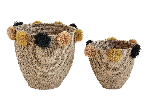 Natural Seagrass Baskets w/ Yellow & Black Pom Poms