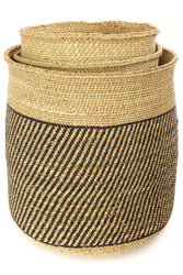 Woven Natural + Black Stripe Basket